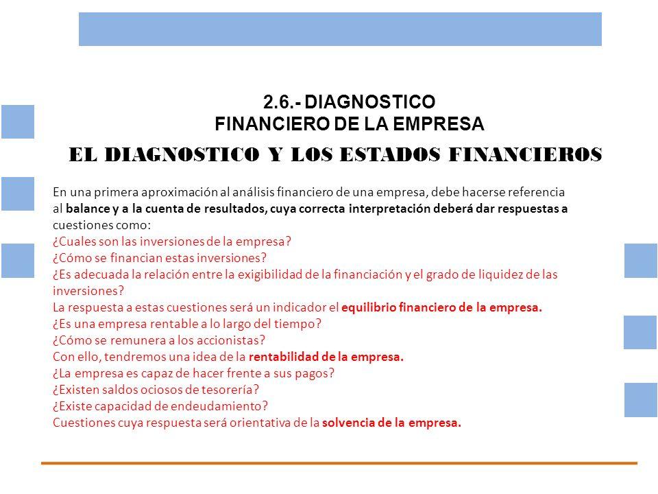 2.6.- DIAGNOSTICO FINANCIERO DE LA EMPRESA OBJETIVO BASICO FINANCIERO EL DIAGNOSTICO Y LOS ESTADOS FINANCIEROS En una primera aproximación al análisis