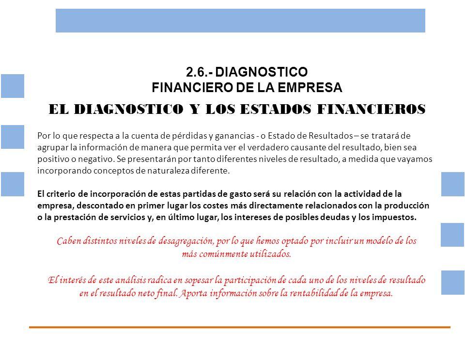 2.6.- DIAGNOSTICO FINANCIERO DE LA EMPRESA OBJETIVO BASICO FINANCIERO EL DIAGNOSTICO Y LOS ESTADOS FINANCIEROS Por lo que respecta a la cuenta de pérd