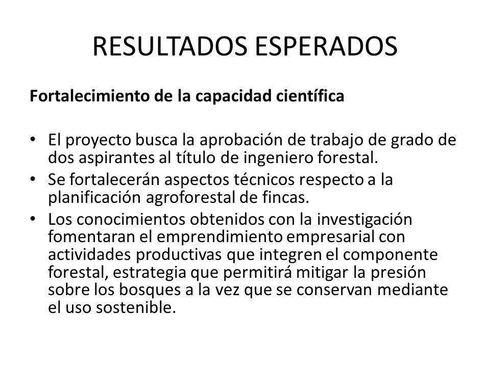 RESULTADOS ESPERADOS Fortalecimiento de la capacidad científica El proyecto busca la aprobación de trabajo de grado de dos aspirantes al título de ing