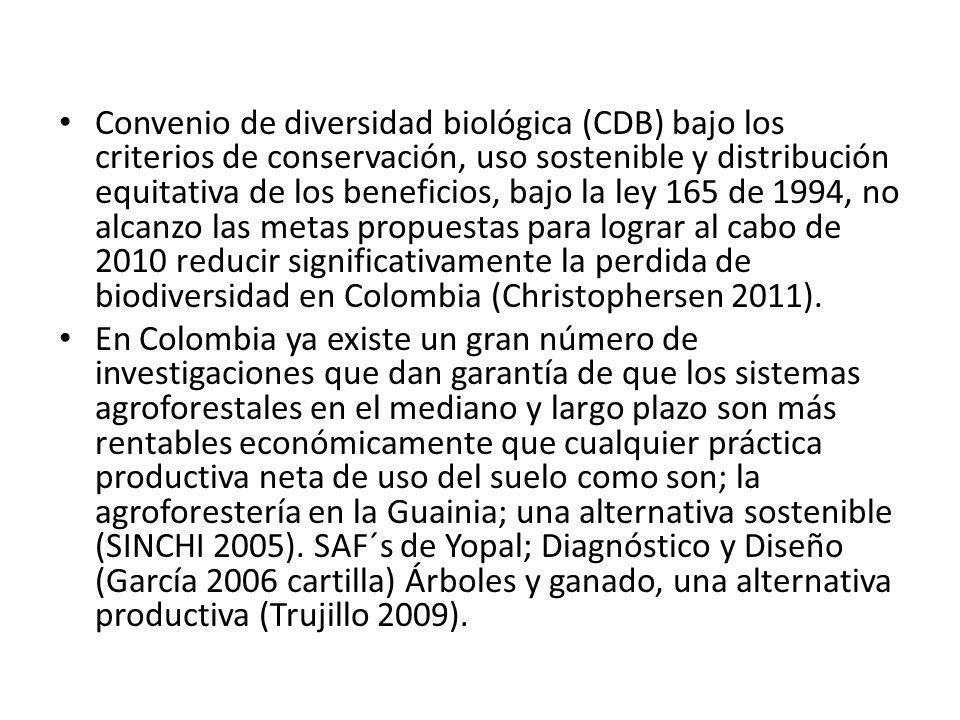 Convenio de diversidad biológica (CDB) bajo los criterios de conservación, uso sostenible y distribución equitativa de los beneficios, bajo la ley 165