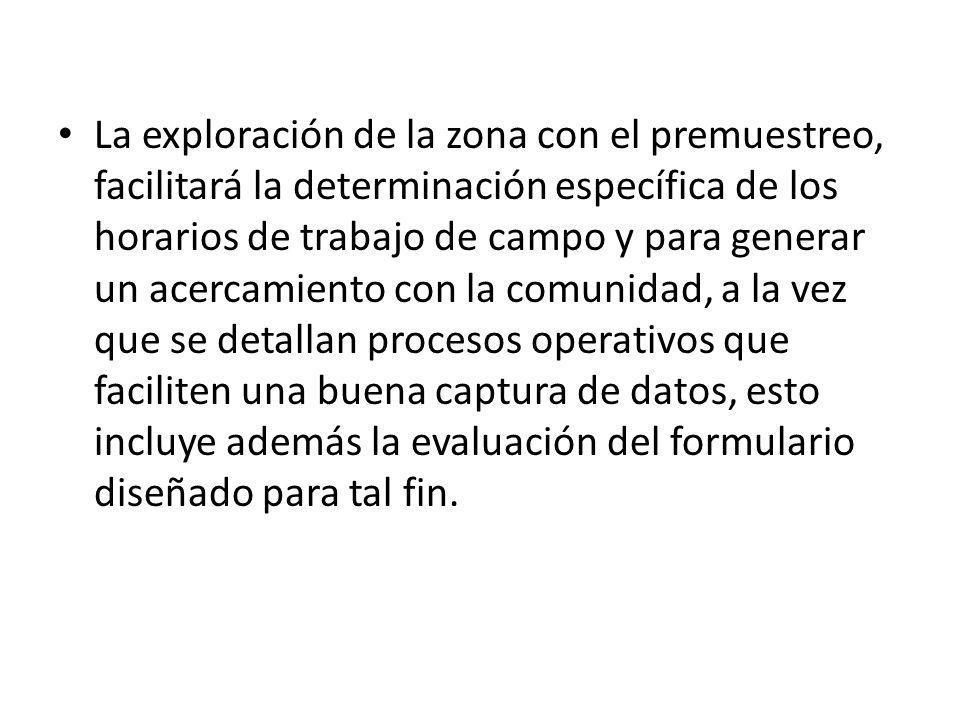 La exploración de la zona con el premuestreo, facilitará la determinación específica de los horarios de trabajo de campo y para generar un acercamient