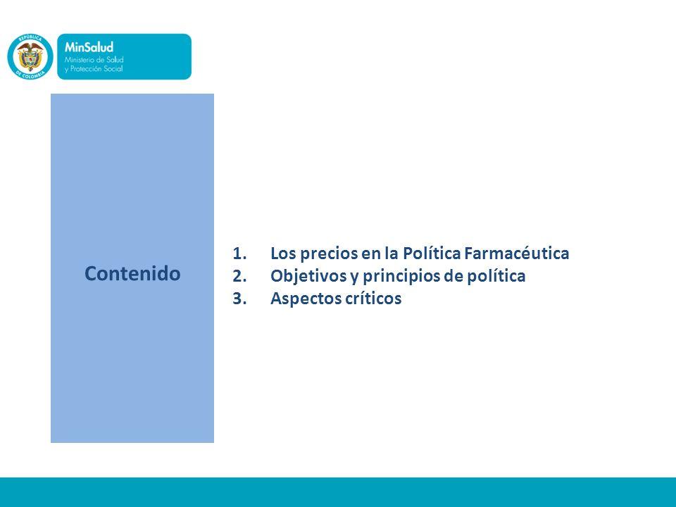 Contenido 1.Los precios en la Política Farmacéutica 2.Objetivos y principios de política 3.Aspectos críticos
