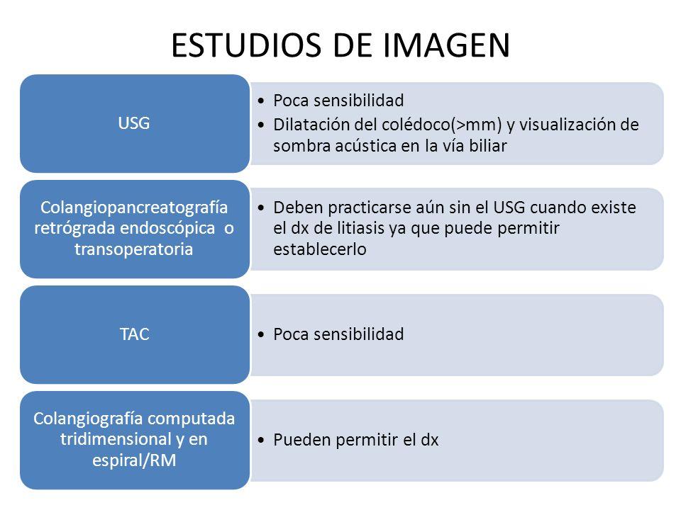 ESTUDIOS DE IMAGEN Poca sensibilidad Dilatación del colédoco(>mm) y visualización de sombra acústica en la vía biliar USG Deben practicarse aún sin el