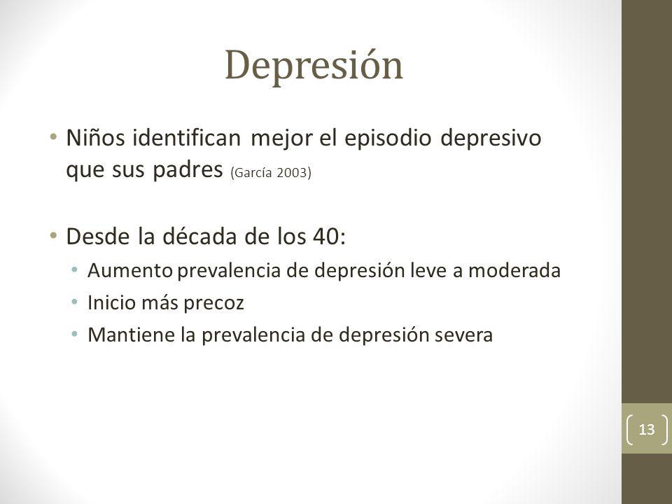 Depresión Niños identifican mejor el episodio depresivo que sus padres (García 2003) Desde la década de los 40: Aumento prevalencia de depresión leve