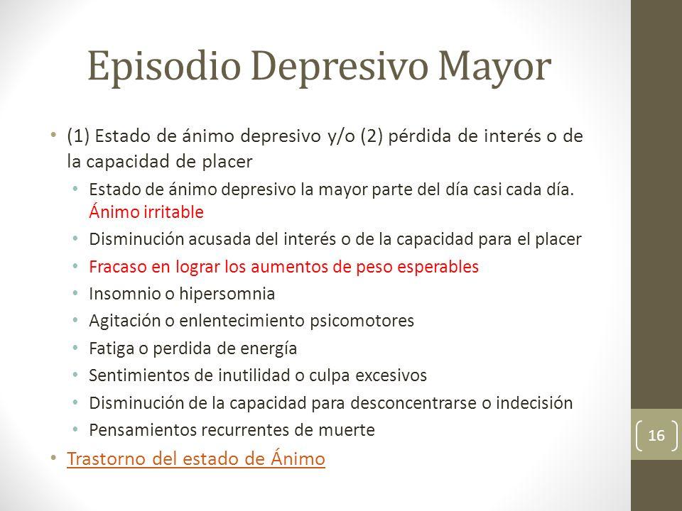 Episodio Depresivo Mayor (1) Estado de ánimo depresivo y/o (2) pérdida de interés o de la capacidad de placer Estado de ánimo depresivo la mayor parte
