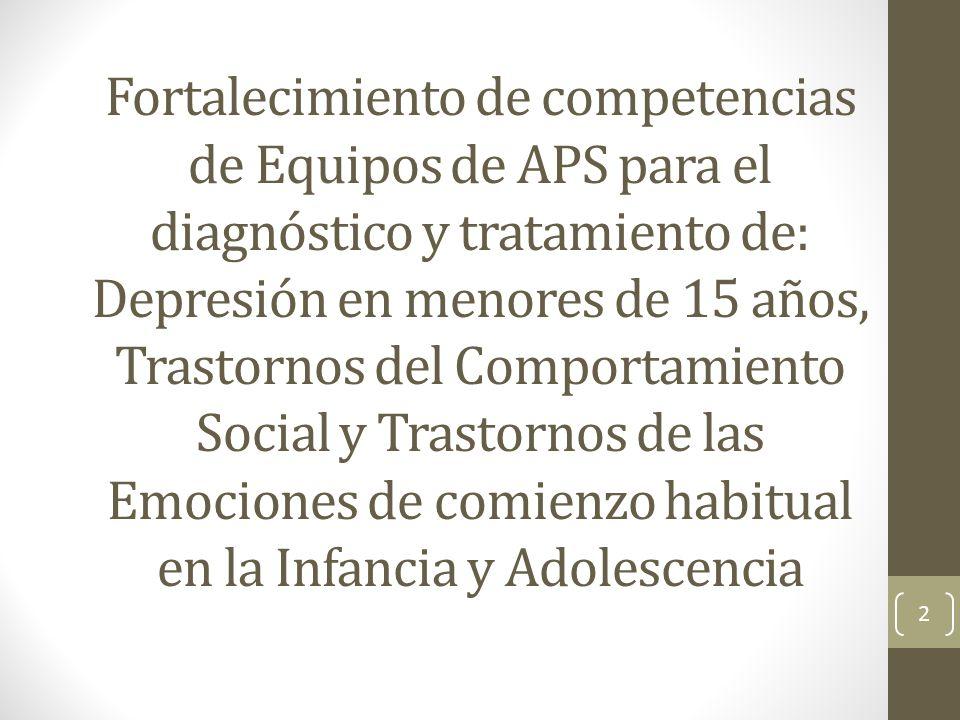 Fortalecimiento de competencias de Equipos de APS para el diagnóstico y tratamiento de: Depresión en menores de 15 años, Trastornos del Comportamiento