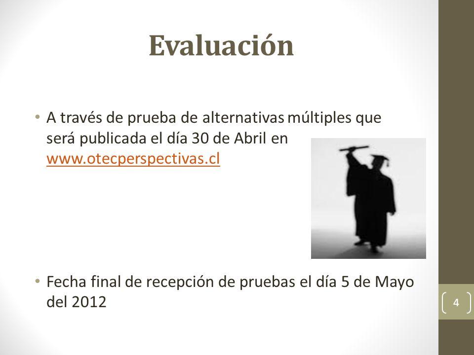 Evaluación A través de prueba de alternativas múltiples que será publicada el día 30 de Abril en www.otecperspectivas.cl www.otecperspectivas.cl Fecha