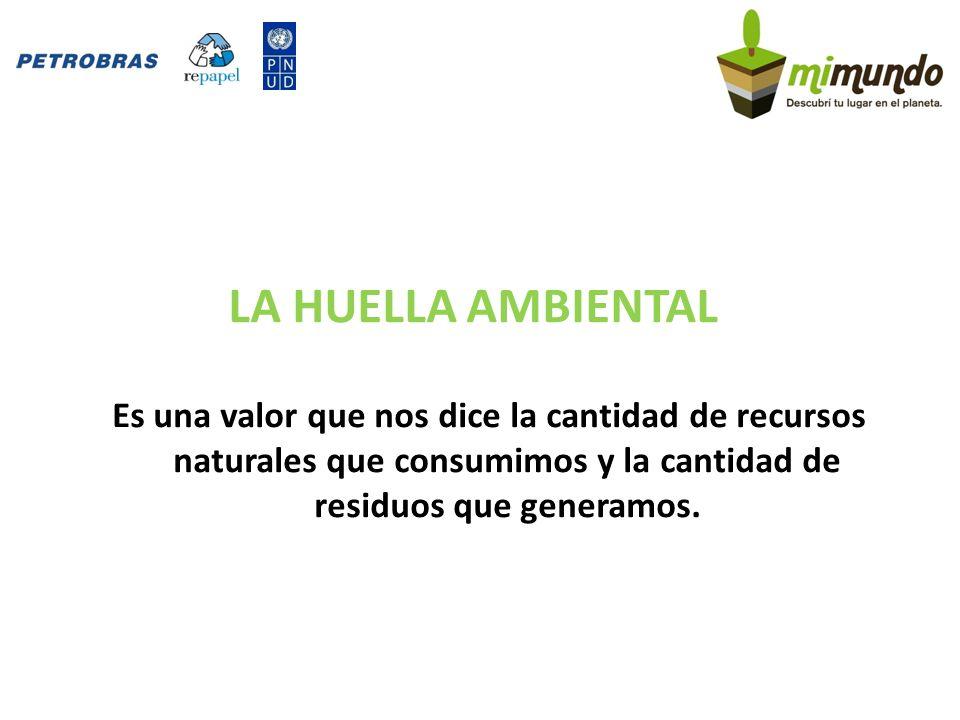 LA HUELLA AMBIENTAL Es una valor que nos dice la cantidad de recursos naturales que consumimos y la cantidad de residuos que generamos.
