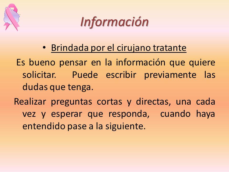 Información Brindada por el cirujano tratante Es bueno pensar en la información que quiere solicitar. Puede escribir previamente las dudas que tenga.
