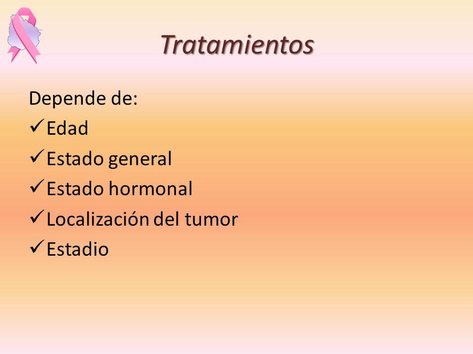 Tratamientos Depende de: Edad Estado general Estado hormonal Localización del tumor Estadio