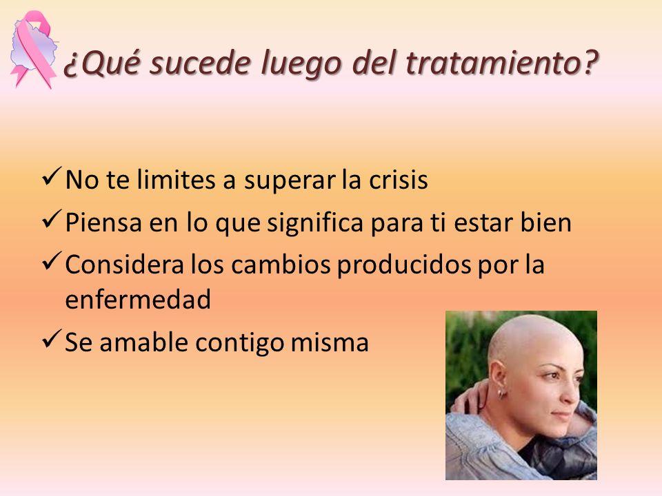 ¿Qué sucede luego del tratamiento? No te limites a superar la crisis Piensa en lo que significa para ti estar bien Considera los cambios producidos po