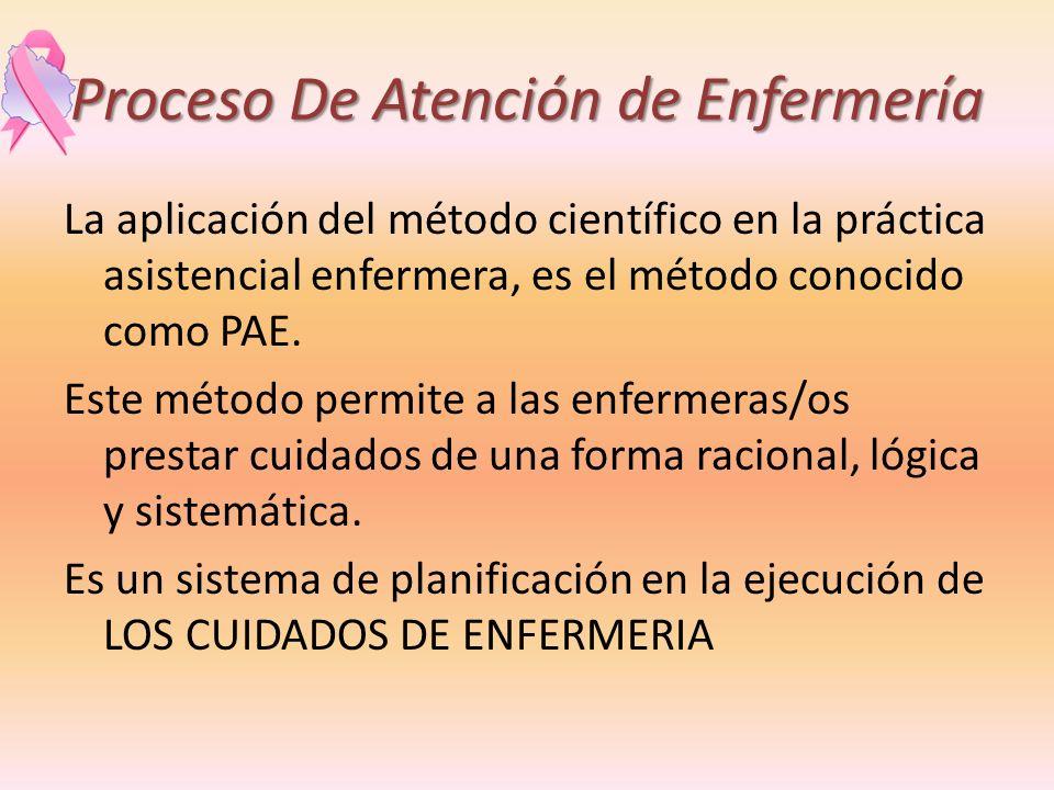 Proceso De Atención de Enfermería La aplicación del método científico en la práctica asistencial enfermera, es el método conocido como PAE. Este métod