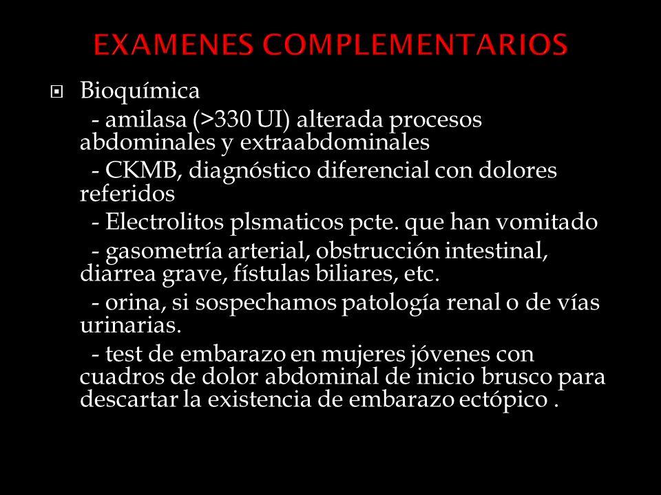 Bioquímica - amilasa (>330 UI) alterada procesos abdominales y extraabdominales - CKMB, diagnóstico diferencial con dolores referidos - Electrolitos plsmaticos pcte.