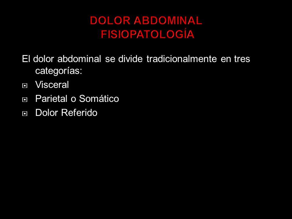 El dolor abdominal se divide tradicionalmente en tres categorías: Visceral Parietal o Somático Dolor Referido