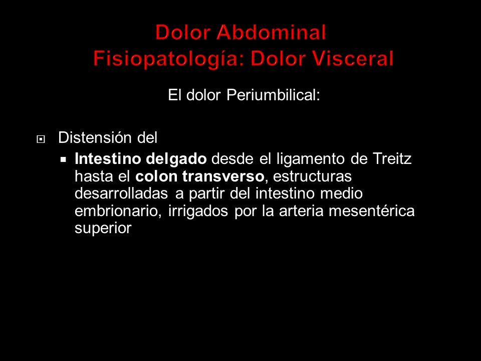 El dolor Periumbilical: Distensión del Intestino delgado desde el ligamento de Treitz hasta el colon transverso, estructuras desarrolladas a partir del intestino medio embrionario, irrigados por la arteria mesentérica superior