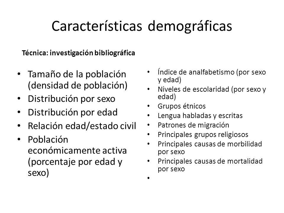 Características demográficas Técnica: investigación bibliográfica Tamaño de la población (densidad de población) Distribución por sexo Distribución po