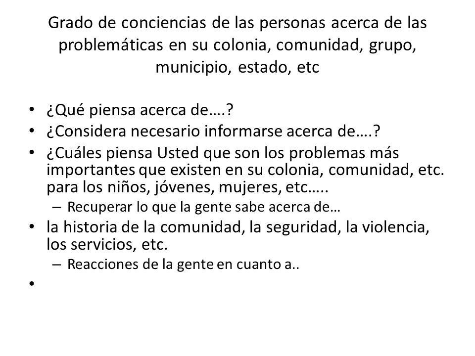 Grado de conciencias de las personas acerca de las problemáticas en su colonia, comunidad, grupo, municipio, estado, etc ¿Qué piensa acerca de….? ¿Con