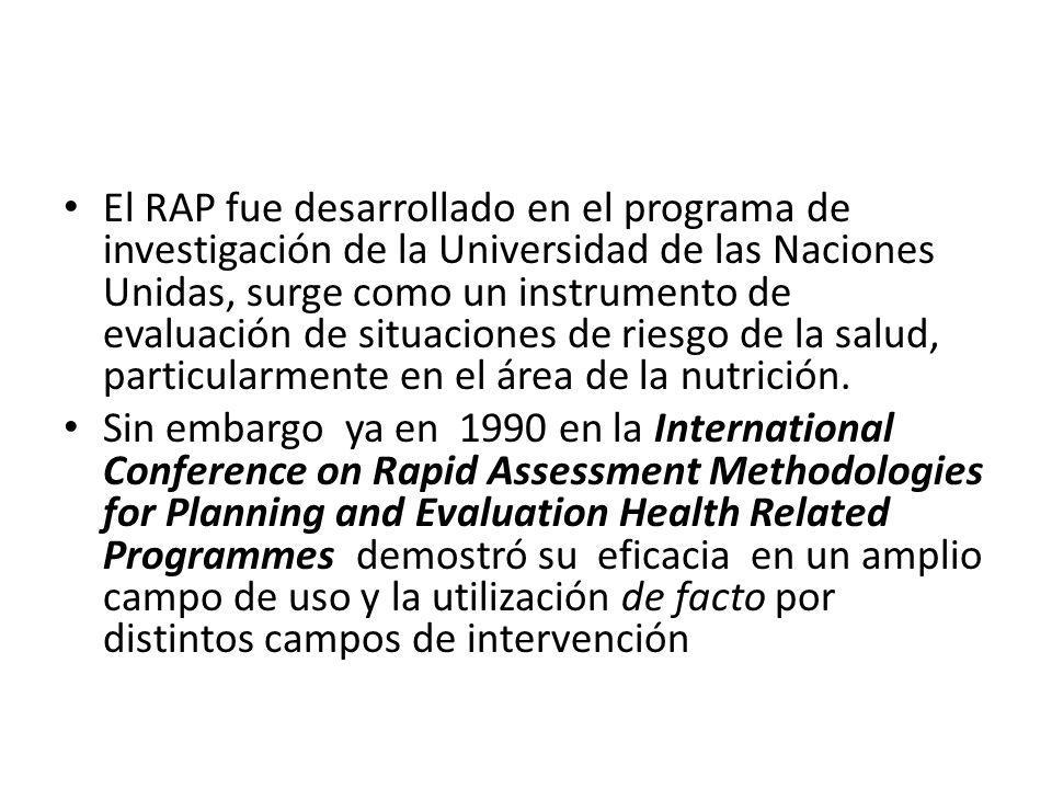 El RAP fue desarrollado en el programa de investigación de la Universidad de las Naciones Unidas, surge como un instrumento de evaluación de situacion