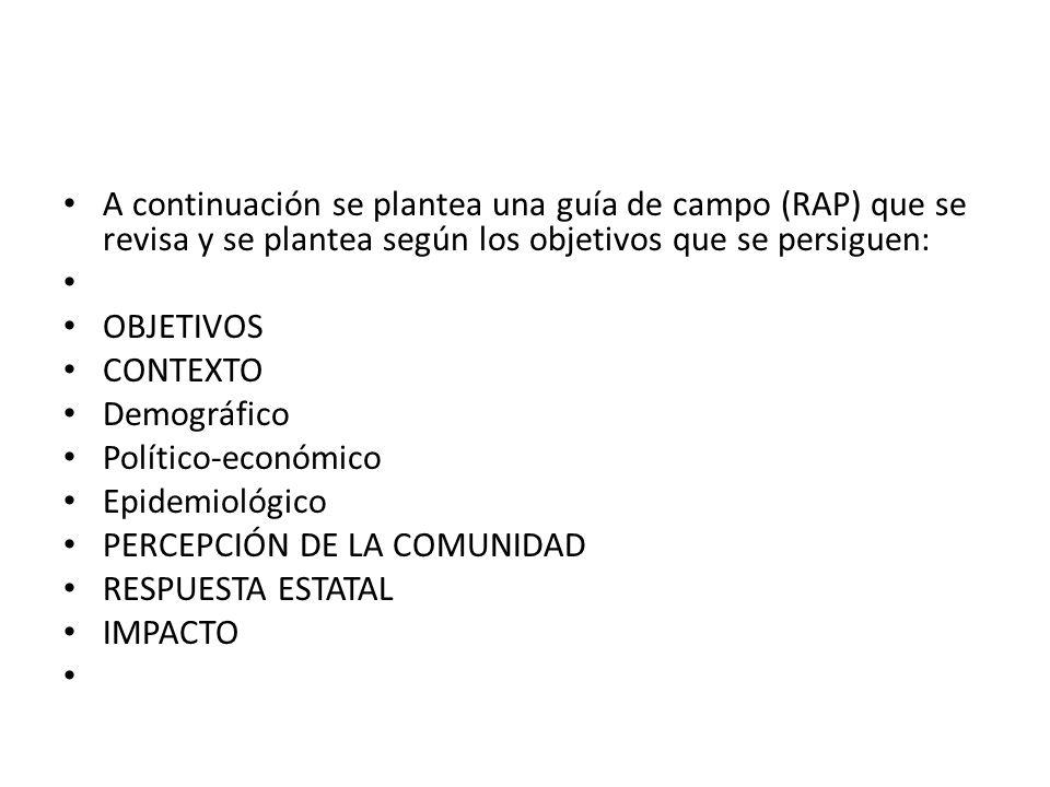 A continuación se plantea una guía de campo (RAP) que se revisa y se plantea según los objetivos que se persiguen: OBJETIVOS CONTEXTO Demográfico Polí