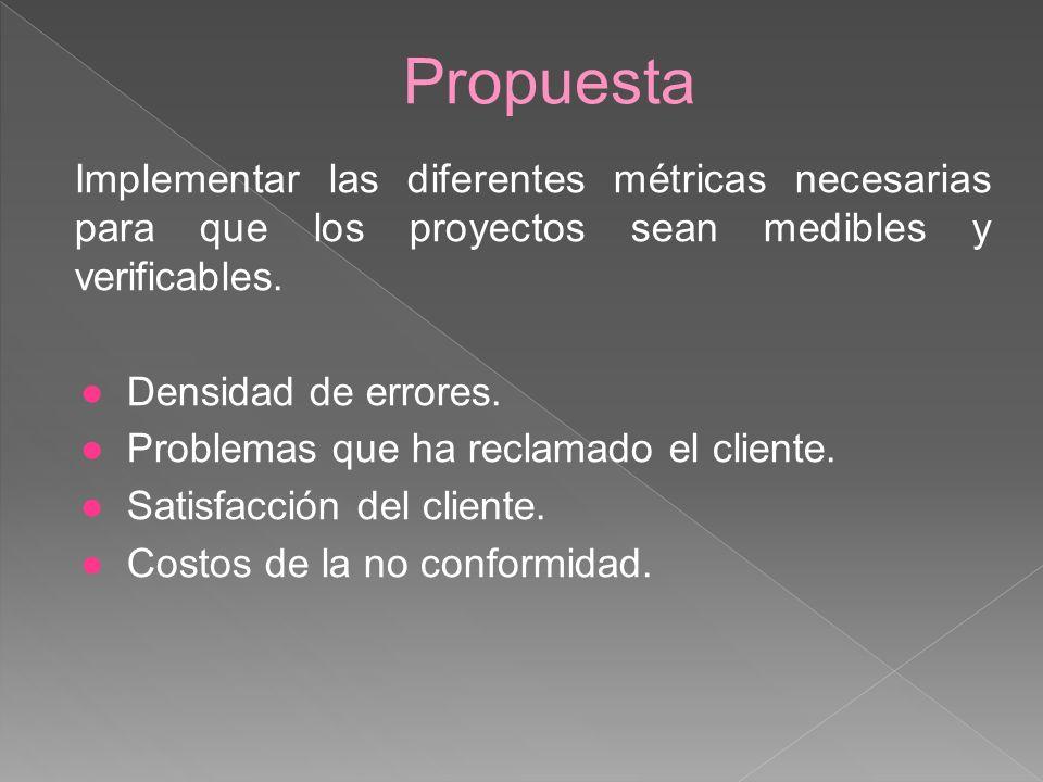 Propuesta Implementar las diferentes métricas necesarias para que los proyectos sean medibles y verificables. Densidad de errores. Problemas que ha re