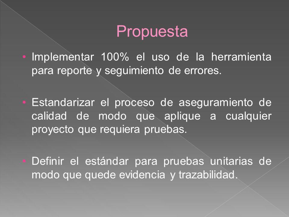 Propuesta Implementar 100% el uso de la herramienta para reporte y seguimiento de errores. Estandarizar el proceso de aseguramiento de calidad de modo