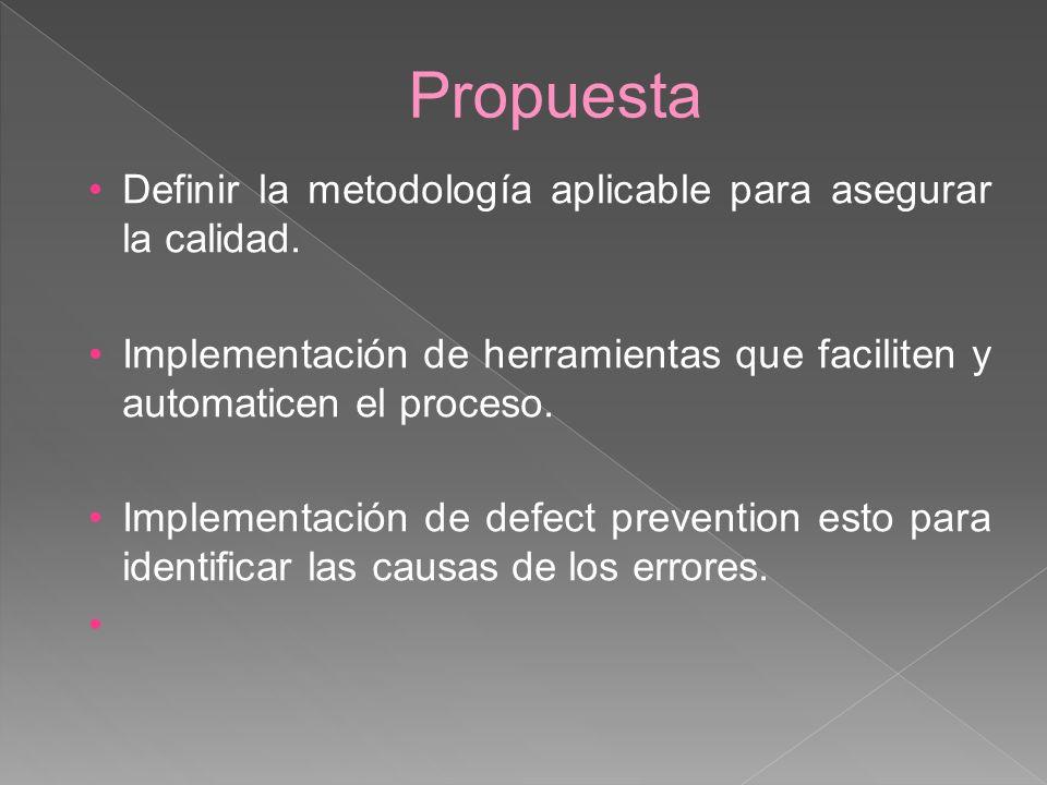 Propuesta Definir la metodología aplicable para asegurar la calidad. Implementación de herramientas que faciliten y automaticen el proceso. Implementa