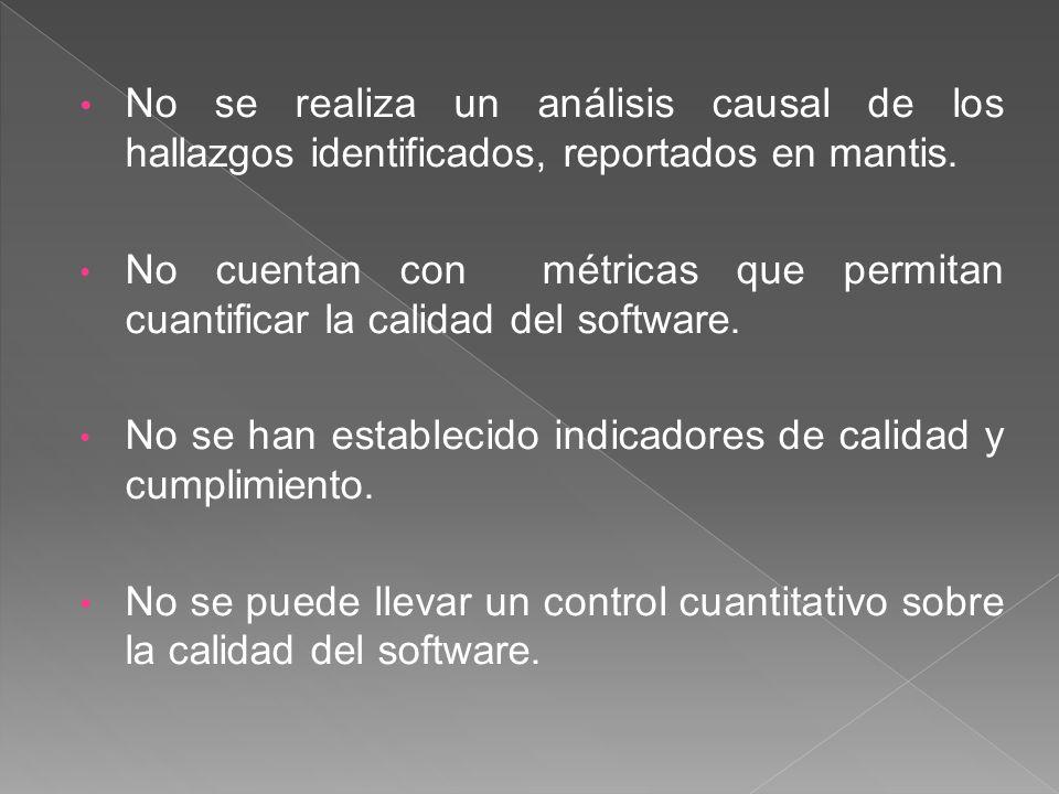 No se realiza un análisis causal de los hallazgos identificados, reportados en mantis. No cuentan con métricas que permitan cuantificar la calidad del