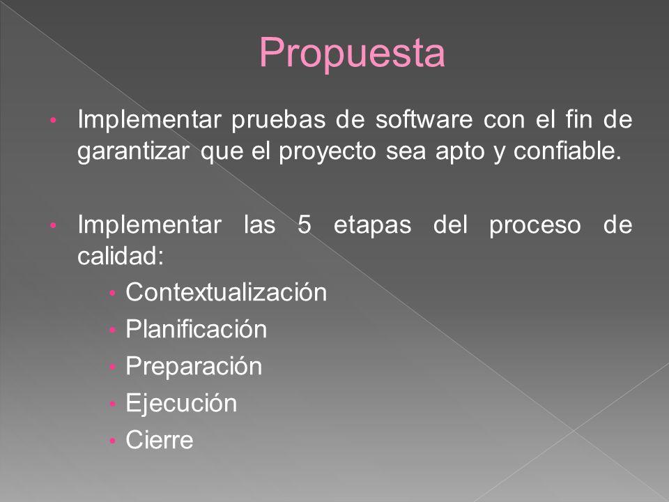 Propuesta Implementar pruebas de software con el fin de garantizar que el proyecto sea apto y confiable. Implementar las 5 etapas del proceso de calid