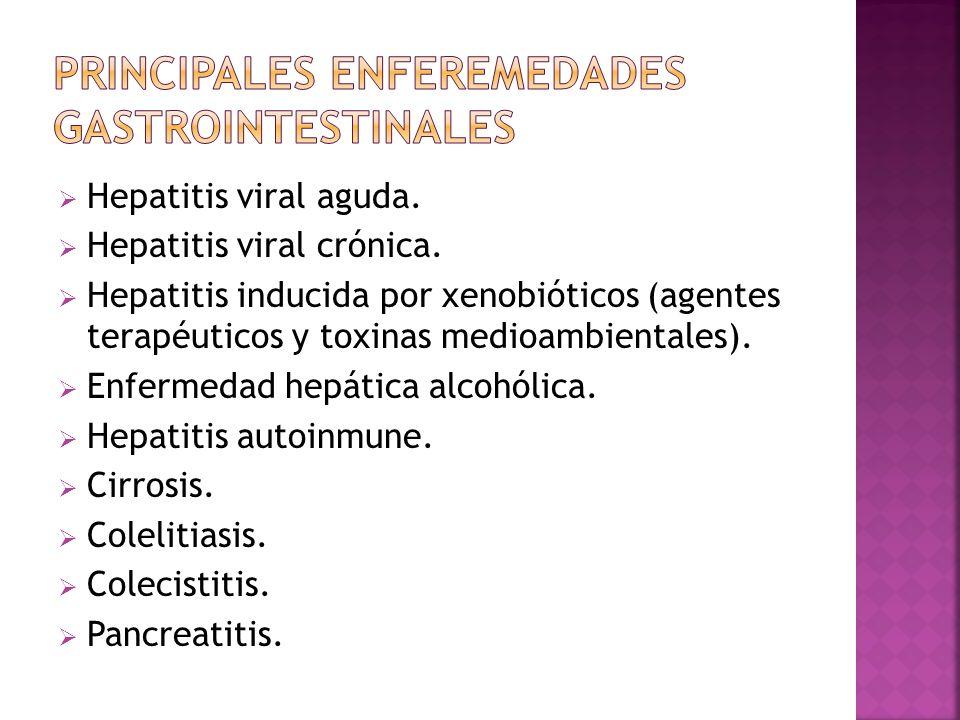 Hepatitis viral aguda. Hepatitis viral crónica. Hepatitis inducida por xenobióticos (agentes terapéuticos y toxinas medioambientales). Enfermedad hepá
