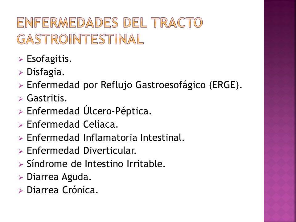 Esofagitis. Disfagia. Enfermedad por Reflujo Gastroesofágico (ERGE). Gastritis. Enfermedad Úlcero-Péptica. Enfermedad Celíaca. Enfermedad Inflamatoria