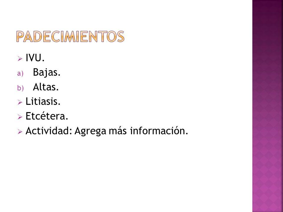 IVU. a) Bajas. b) Altas. Litiasis. Etcétera. Actividad: Agrega más información.