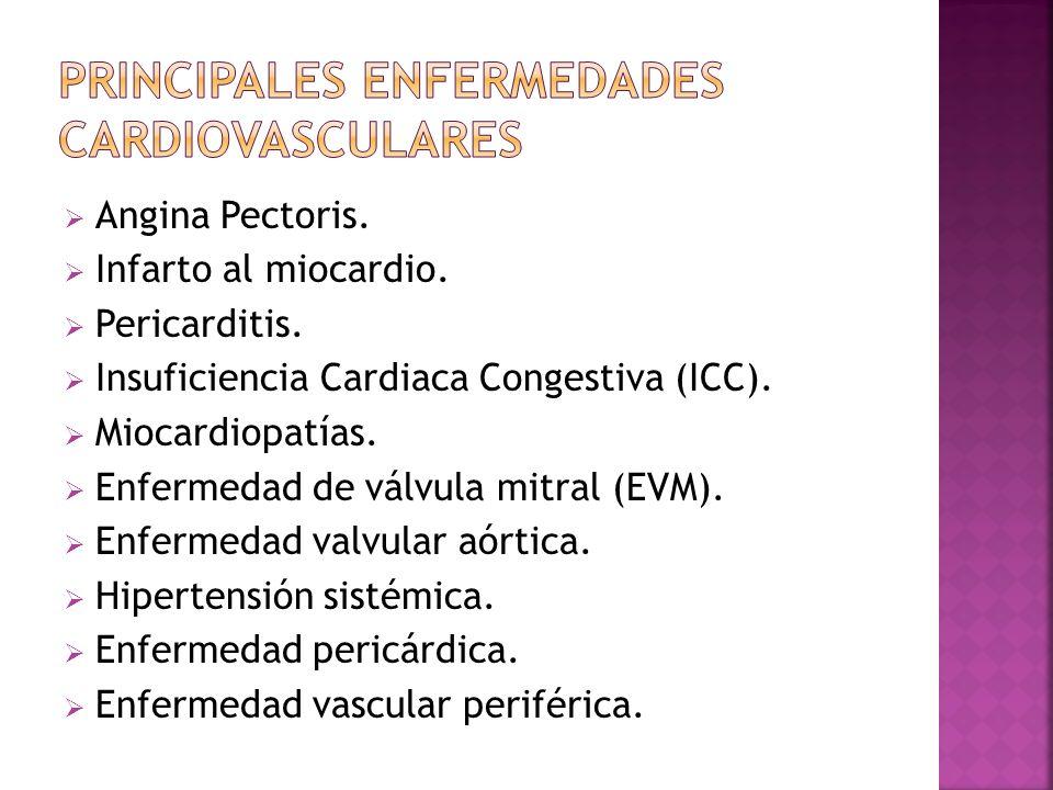 Angina Pectoris. Infarto al miocardio. Pericarditis. Insuficiencia Cardiaca Congestiva (ICC). Miocardiopatías. Enfermedad de válvula mitral (EVM). Enf