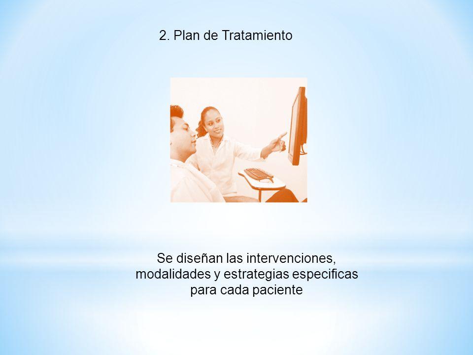 2. Plan de Tratamiento Se diseñan las intervenciones, modalidades y estrategias especificas para cada paciente