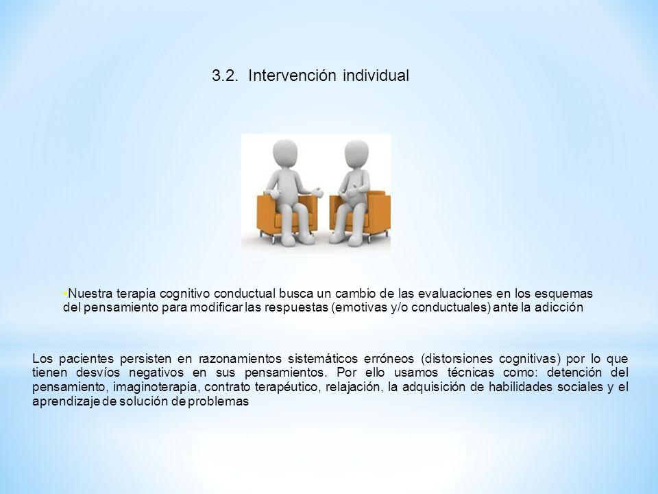 3.2. Intervención individual Nuestra terapia cognitivo conductual busca un cambio de las evaluaciones en los esquemas del pensamiento para modificar l