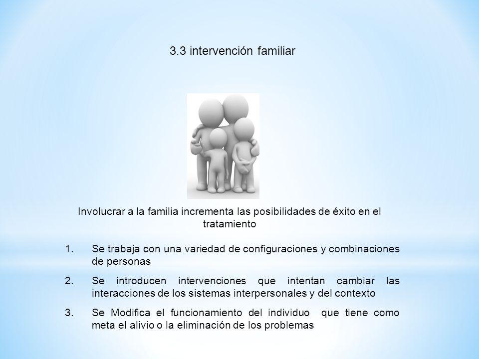 3.3 intervención familiar Involucrar a la familia incrementa las posibilidades de éxito en el tratamiento 1.Se trabaja con una variedad de configuraci