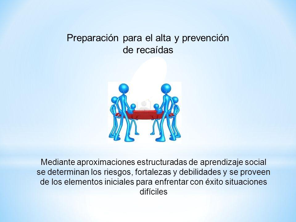 Preparación para el alta y prevención de recaídas Mediante aproximaciones estructuradas de aprendizaje social se determinan los riesgos, fortalezas y