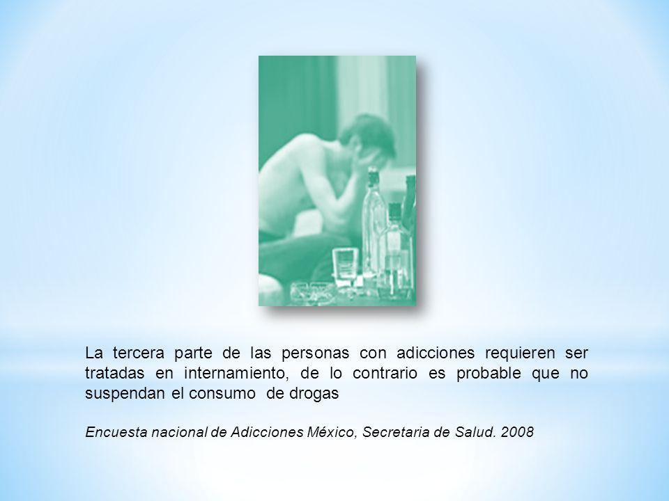 La tercera parte de las personas con adicciones requieren ser tratadas en internamiento, de lo contrario es probable que no suspendan el consumo de dr