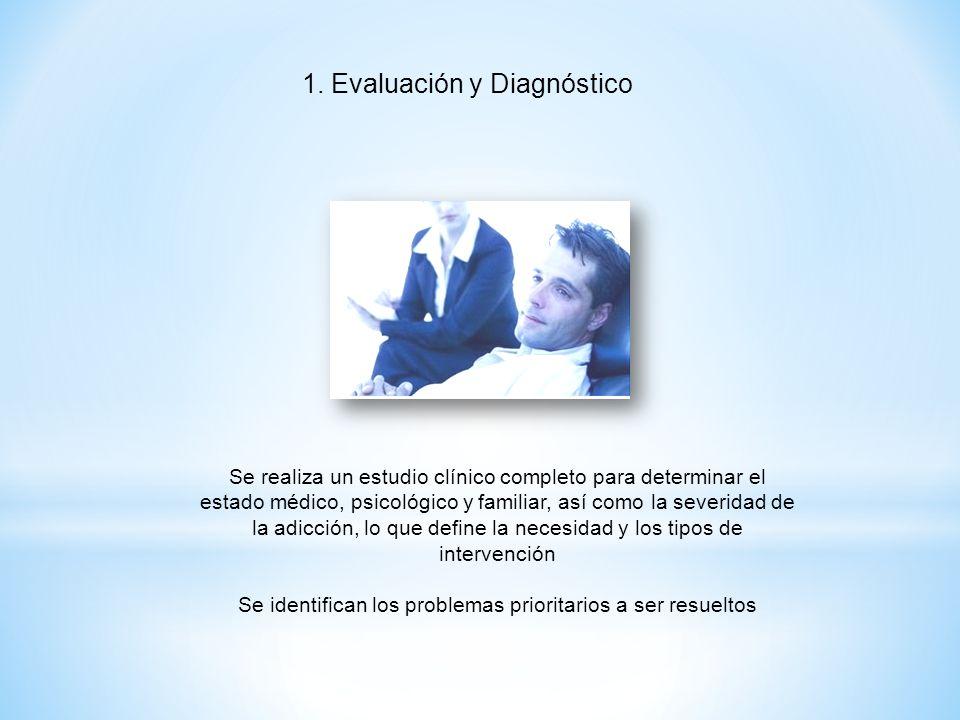 1. Evaluación y Diagnóstico Se realiza un estudio clínico completo para determinar el estado médico, psicológico y familiar, así como la severidad de