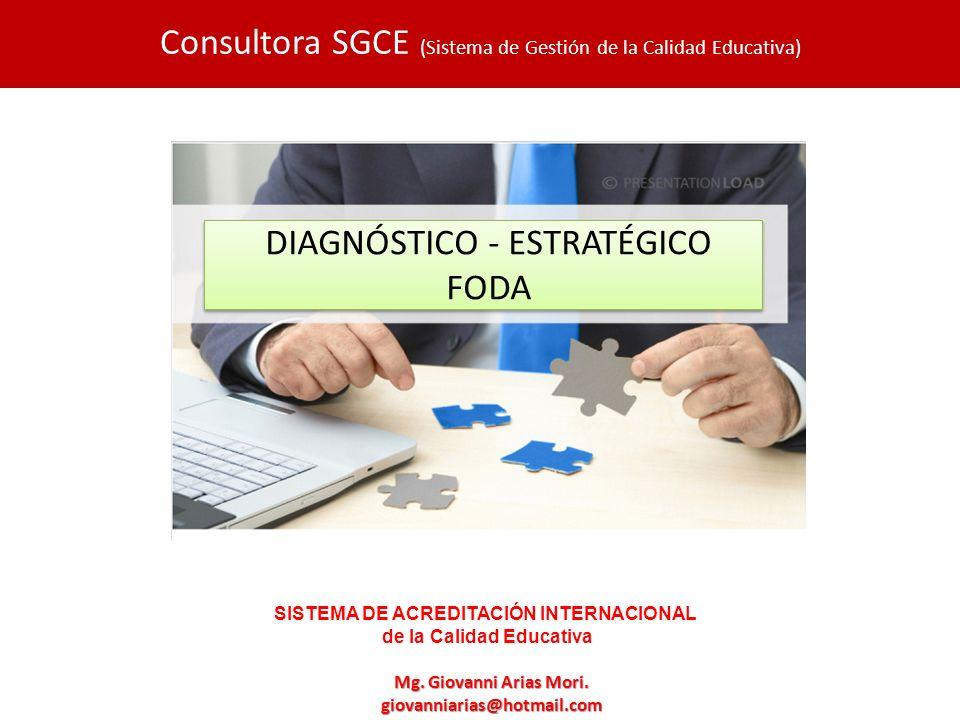 DIAGNÓSTICO ESTRATÉGICO FODA Mg. Giovanni Arias Mori. giovanniarias@hotmail.com Consultora SGCE (Sistema de Gestión de la Calidad Educativa) DIAGNÓSTI