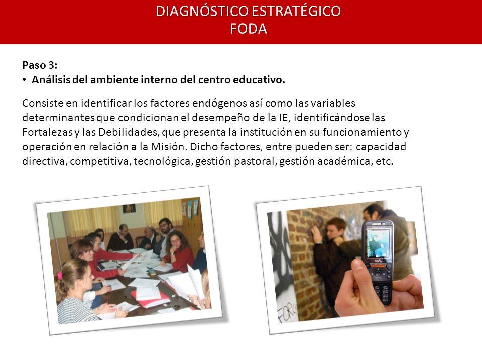 DIAGNÓSTICO ESTRATÉGICO FODA Paso 3: Análisis del ambiente interno del centro educativo. Consiste en identificar los factores endógenos así como las v