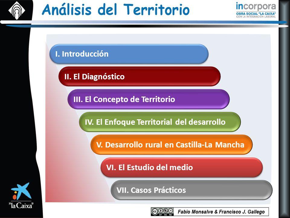V. Desarrollo rural en Castilla-La Mancha IV. El Enfoque Territorial del desarrollo III. El Concepto de Territorio II. El Diagnóstico I. Introducción
