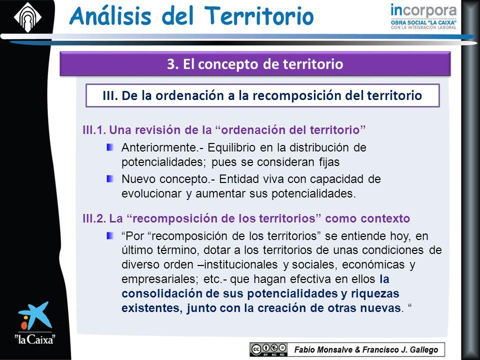 3. El concepto de territorio III.1. Una revisión de la ordenación del territorio Anteriormente.- Equilibrio en la distribución de potencialidades; pue