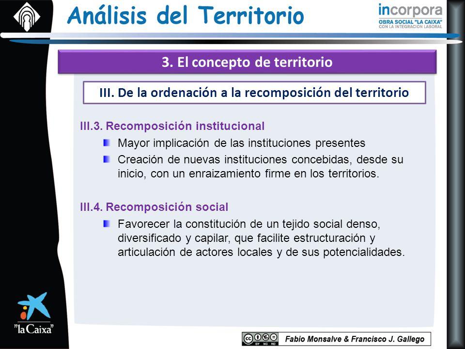 3. El concepto de territorio III.3. Recomposición institucional Mayor implicación de las instituciones presentes Creación de nuevas instituciones conc