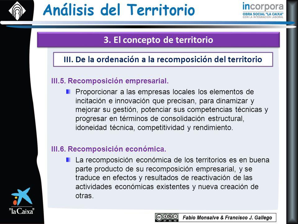 3. El concepto de territorio III.5. Recomposición empresarial. Proporcionar a las empresas locales los elementos de incitación e innovación que precis