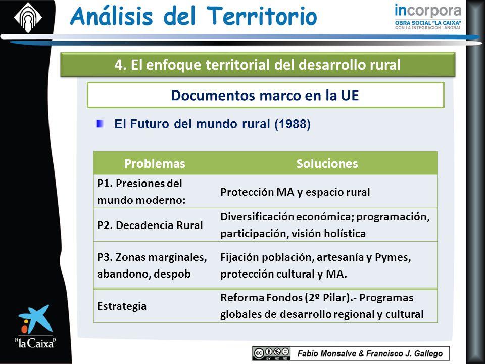 4. El enfoque territorial del desarrollo rural Documentos marco en la UE El Futuro del mundo rural (1988) ProblemasSoluciones P1. Presiones del mundo
