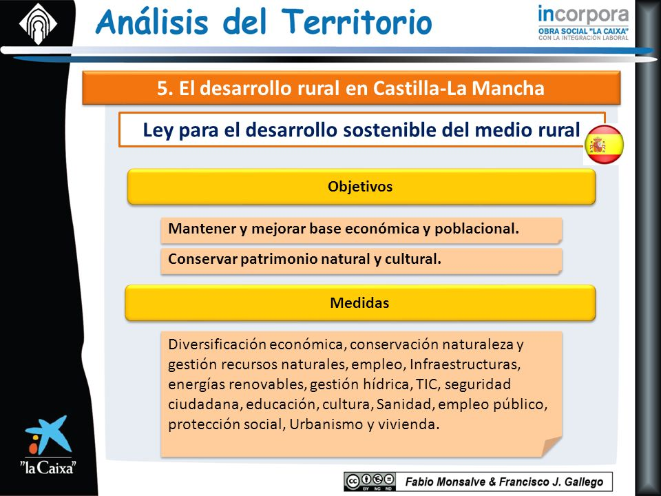 5. El desarrollo rural en Castilla-La Mancha Objetivos Mantener y mejorar base económica y poblacional. Medidas Ley para el desarrollo sostenible del