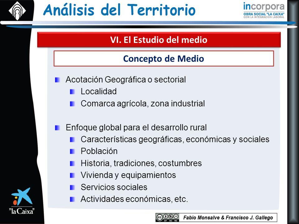 VI. El Estudio del medio Concepto de Medio Acotación Geográfica o sectorial Localidad Comarca agrícola, zona industrial Enfoque global para el desarro