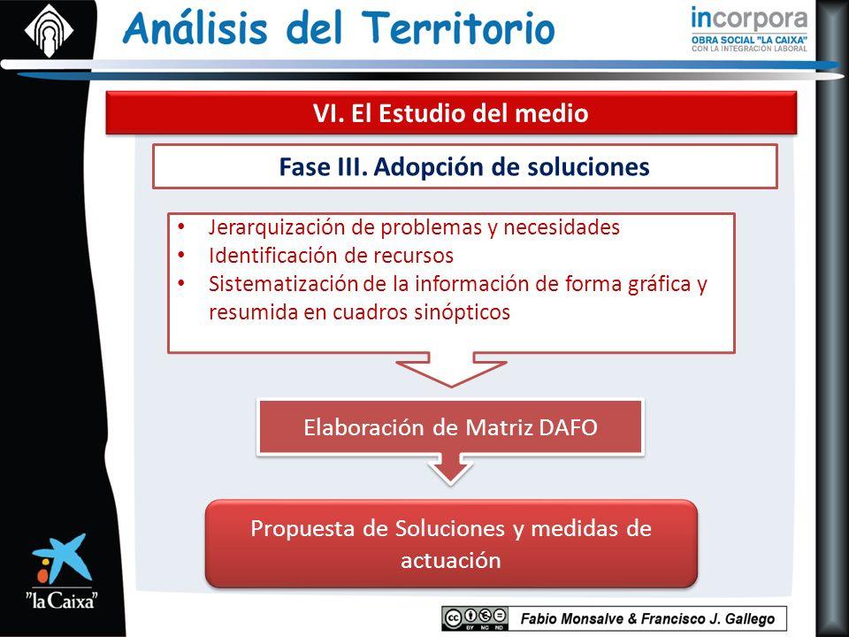 VI. El Estudio del medio Fase III. Adopción de soluciones Jerarquización de problemas y necesidades Identificación de recursos Sistematización de la i