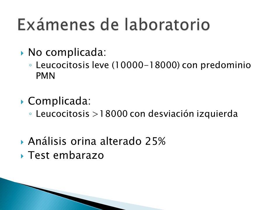 No complicada: Leucocitosis leve (10000-18000) con predominio PMN Complicada: Leucocitosis >18000 con desviación izquierda Análisis orina alterado 25%