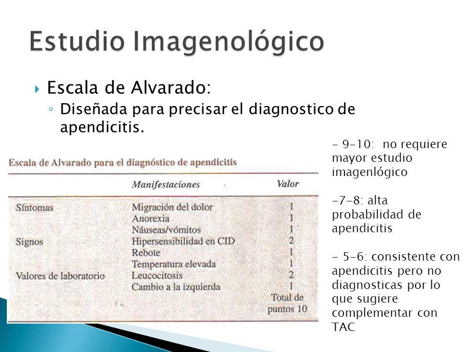 Escala de Alvarado: Diseñada para precisar el diagnostico de apendicitis. - 9-10: no requiere mayor estudio imagenlógico -7-8: alta probabilidad de ap